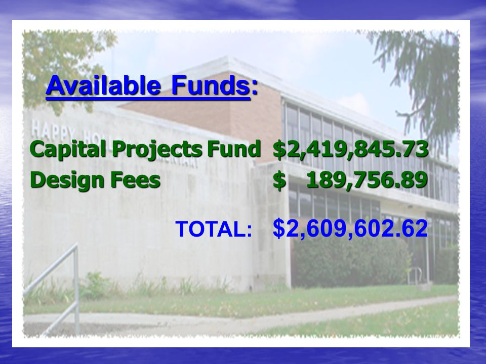 Capital Projects Fund$2,419,845.73 Design Fees$ 189,756.89 TOTAL: $2,609,602.62 Available Funds: