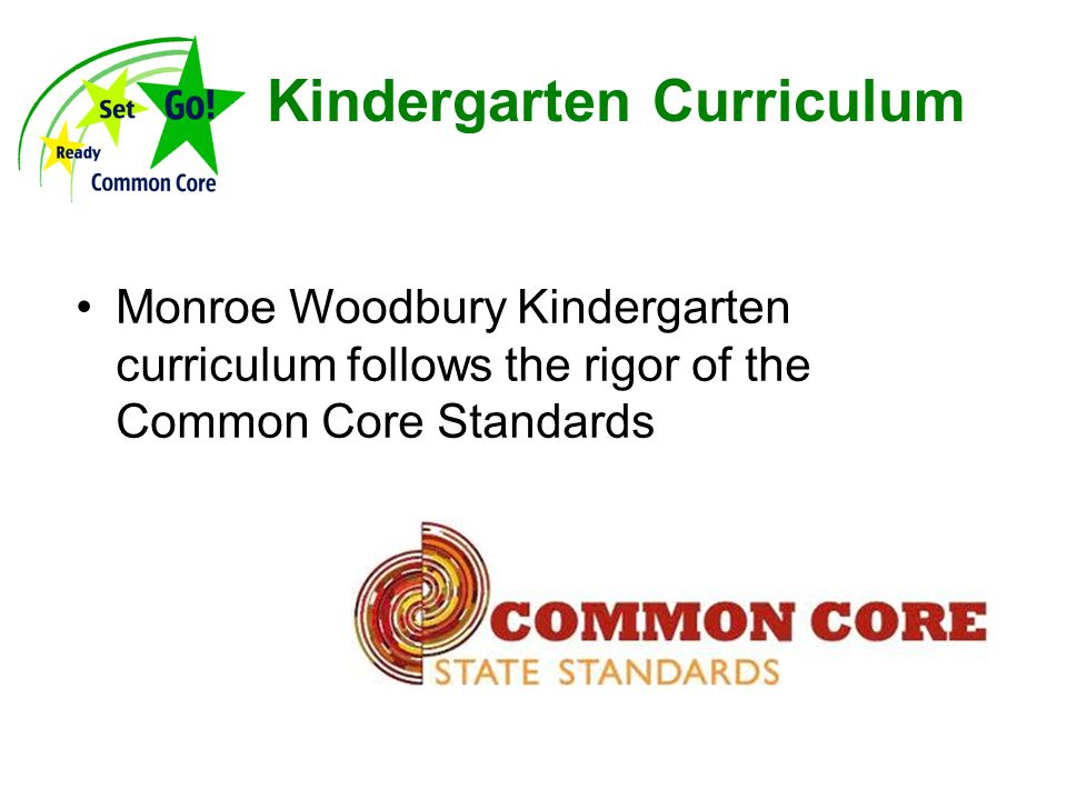 Kindergarten Curriculum Monroe Woodbury Kindergarten curriculum follows the rigor of the Common Core Standards