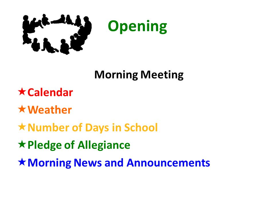 Opening Morning Meeting  Calendar  Weather  Number of Days in School  Pledge of Allegiance  Morning News and Announcements