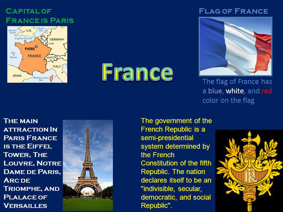 Capital of France is Paris Flag of France The flag of France has a blue, white, and red color on the flag The main attraction In Paris France is the Eiffel Tower, The Louvre, Notre Dame de Paris, Arc de Triomphe, and Plalace of Versailles The government of the French Republic is a semi-presidential system determined by the French Constitution of the fifth Republic.