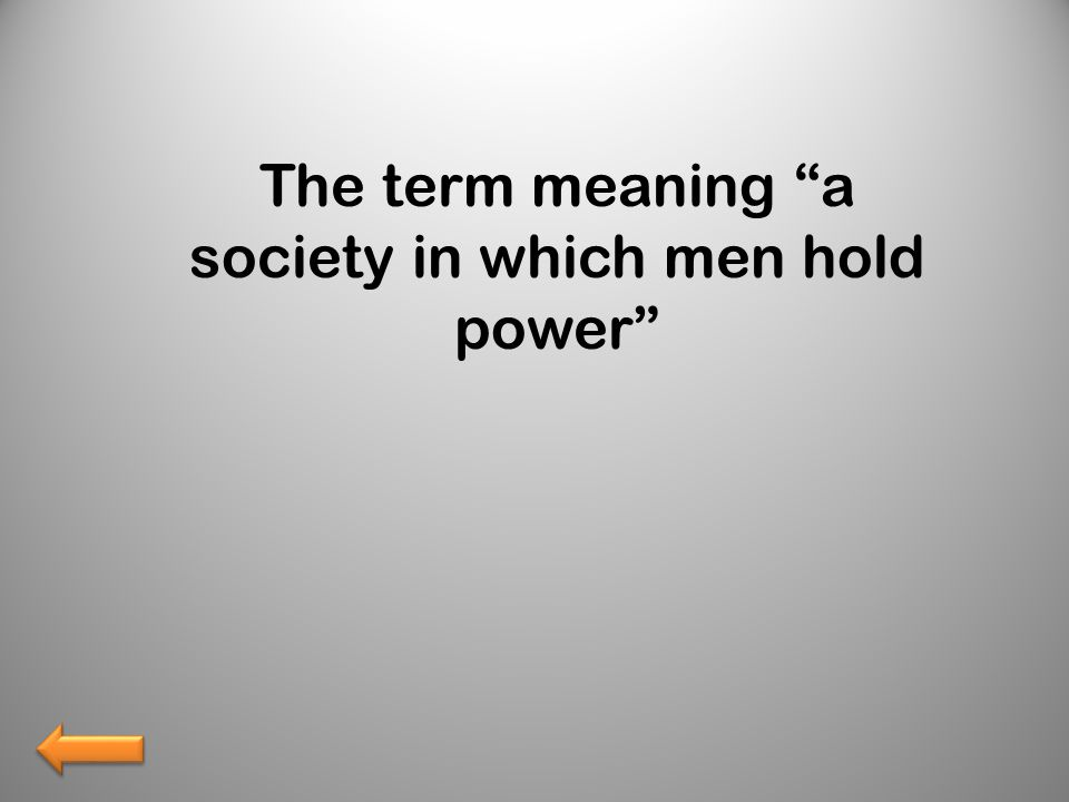The term meaning a society in which men hold power