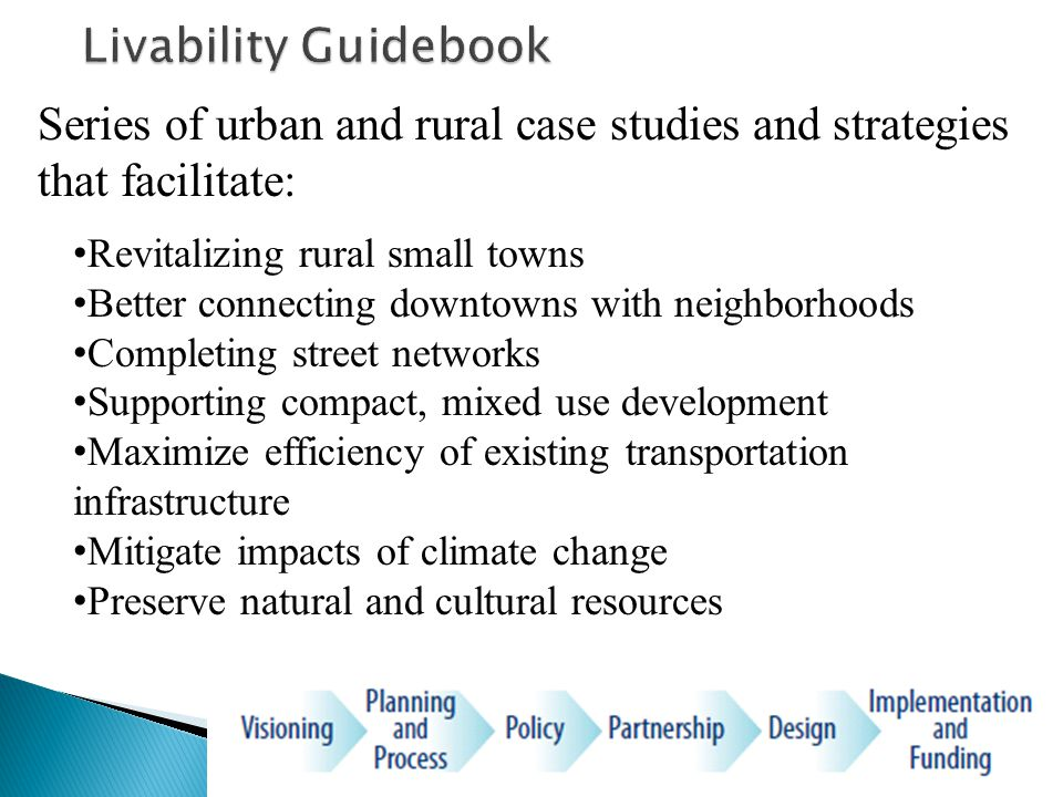 Series of urban and rural case studies and strategies that facilitate: Revitalizing rural small towns Better connecting downtowns with neighborhoods Completing street networks Supporting compact, mixed use development Maximize efficiency of existing transportation infrastructure Mitigate impacts of climate change Preserve natural and cultural resources