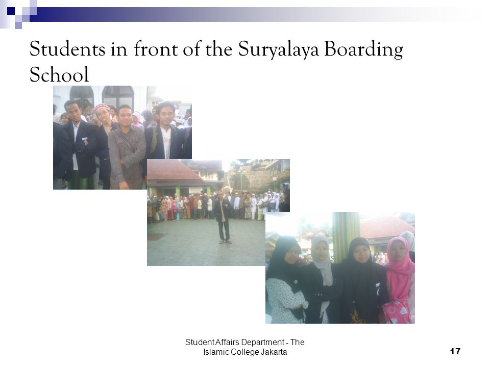 Student Affairs Department - The Islamic College Jakarta17 Students in front of the Suryalaya Boarding School