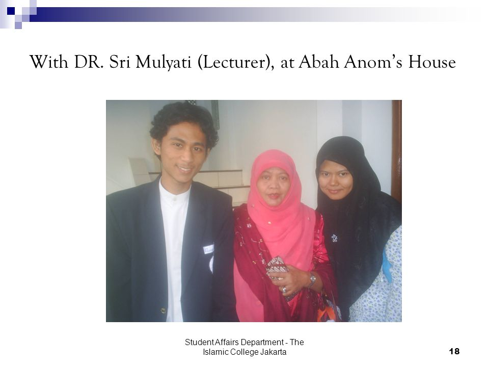 Student Affairs Department - The Islamic College Jakarta18 With DR.