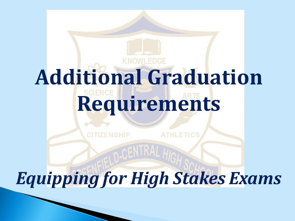 Additional Graduation Requirements Equipping for High Stakes Exams
