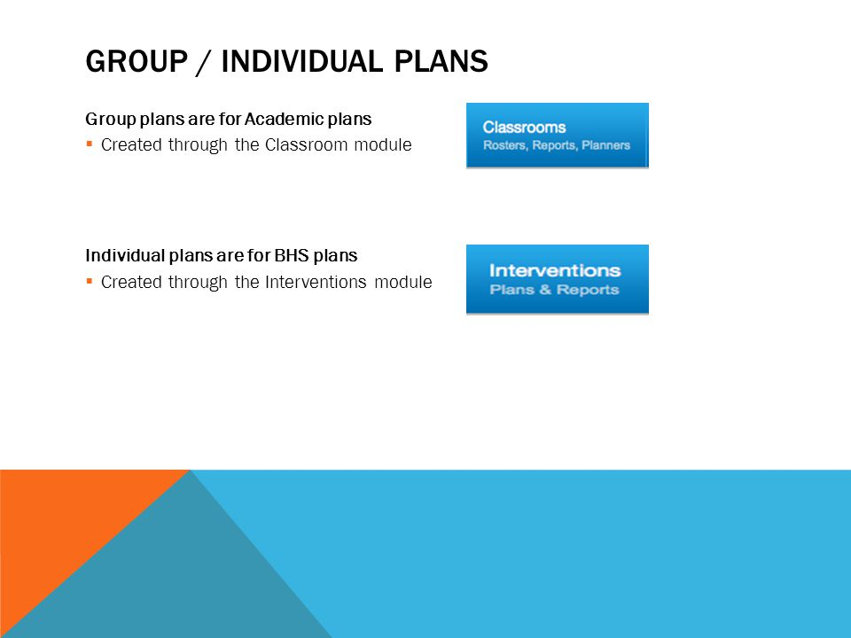 GROUP / INDIVIDUAL PLANS Group plans are for Academic plans  Created through the Classroom module Individual plans are for BHS plans  Created through the Interventions module