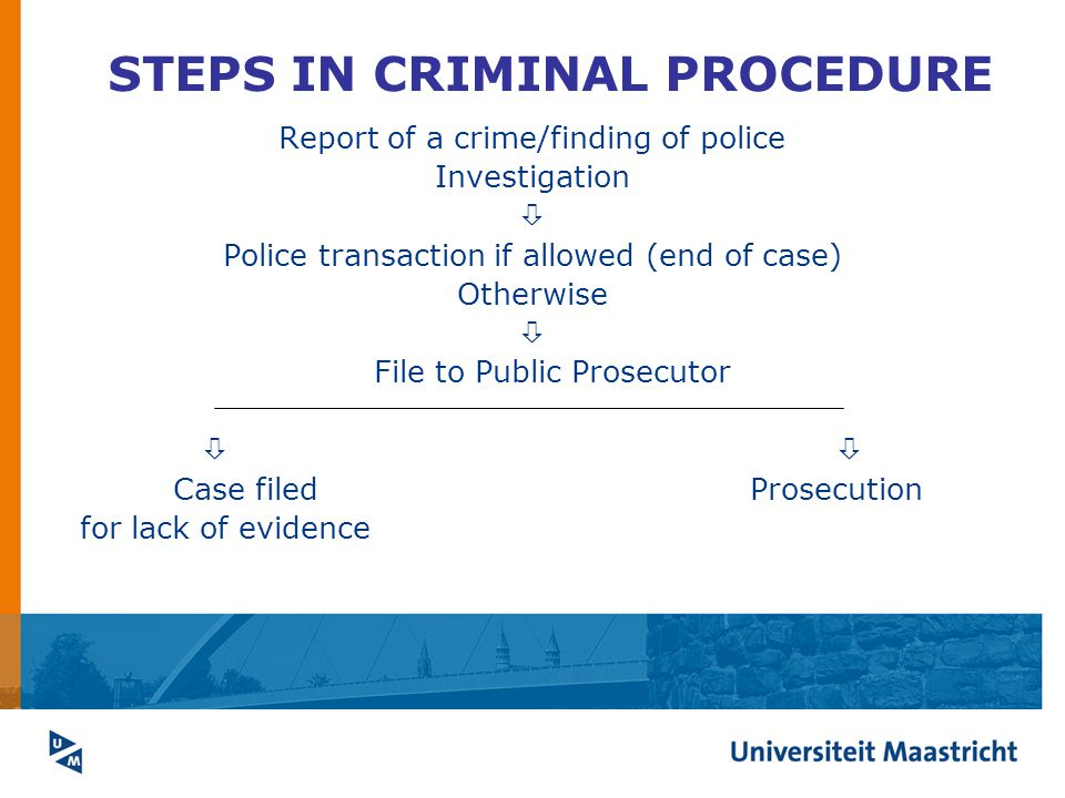 STEPS IN CRIMINAL PROCEDURE Report of a crime/finding of police Investigation  Police transaction if allowed (end of case) Otherwise  File to Public Prosecutor  Case filed Prosecution for lack of evidence