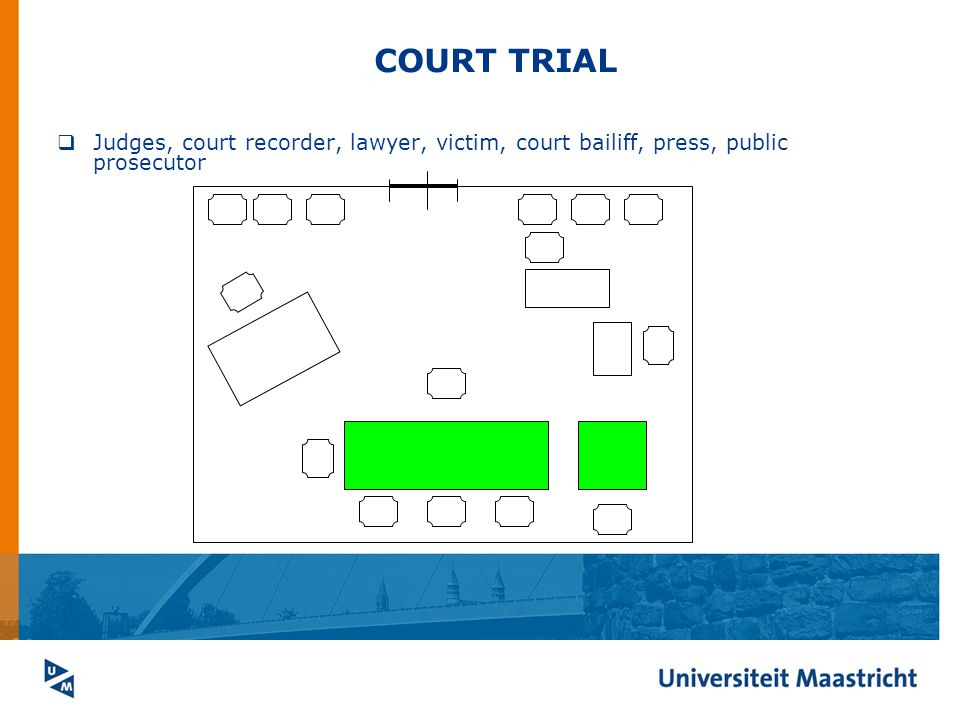 COURT TRIAL  Judges, court recorder, lawyer, victim, court bailiff, press, public prosecutor