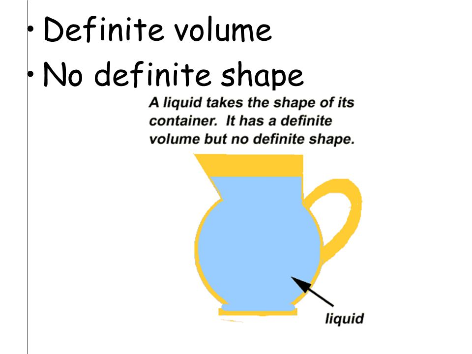 Definite volume No definite shape