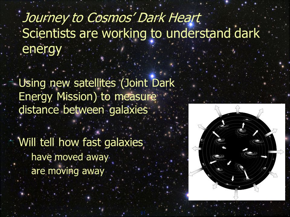 63 Journey to Cosmos' Dark Heart Scientists are working to understand dark energy  Using new satellites (Joint Dark Energy Mission) to measure distance between galaxies  Will tell how fast galaxies  have moved away  are moving away