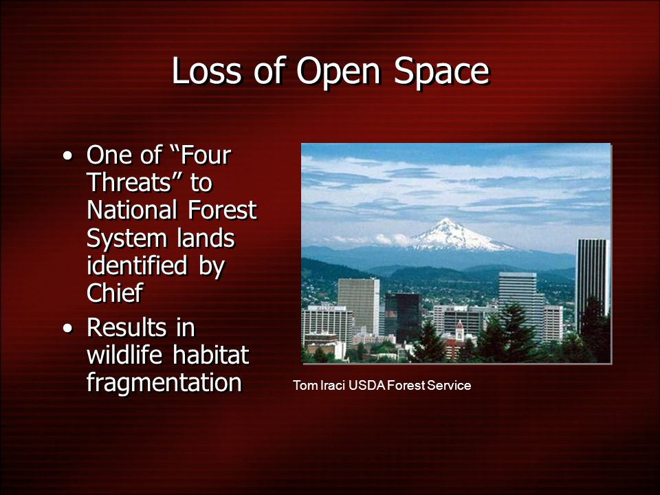 Loss of Open Space One of Four Threats to National Forest System lands identified by Chief Results in wildlife habitat fragmentation One of Four Threats to National Forest System lands identified by Chief Results in wildlife habitat fragmentation Tom Iraci USDA Forest Service