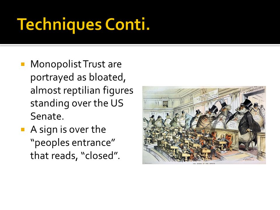  Monopolist Trust are portrayed as bloated, almost reptilian figures standing over the US Senate.