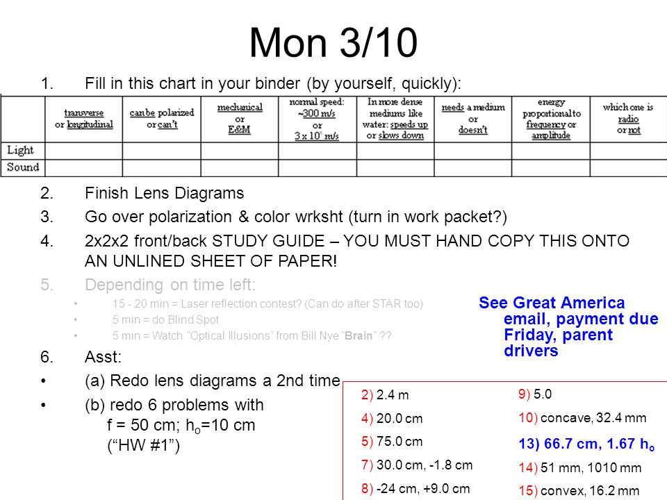 Mon 3/10 1.Fill in this chart in your binder (by yourself, quickly): 2.Finish Lens Diagrams 3.Go over polarization & color wrksht (turn in work packet ) 4.2x2x2 front/back STUDY GUIDE – YOU MUST HAND COPY THIS ONTO AN UNLINED SHEET OF PAPER.