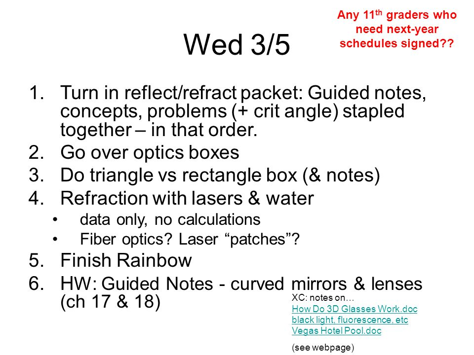 Wed 3/5 1.Turn in reflect/refract packet: Guided notes, concepts, problems (+ crit angle) stapled together – in that order.