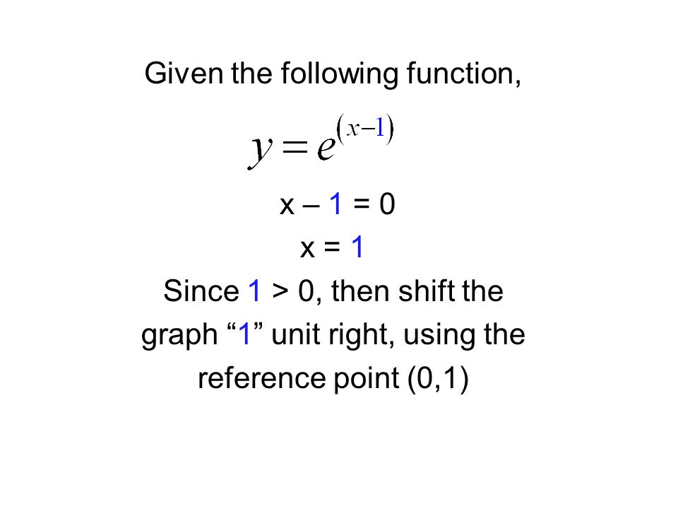 Given the following function, x – 1 = 0 x = 1 Since 1 > 0, then shift the graph 1 unit right, using the reference point (0,1)