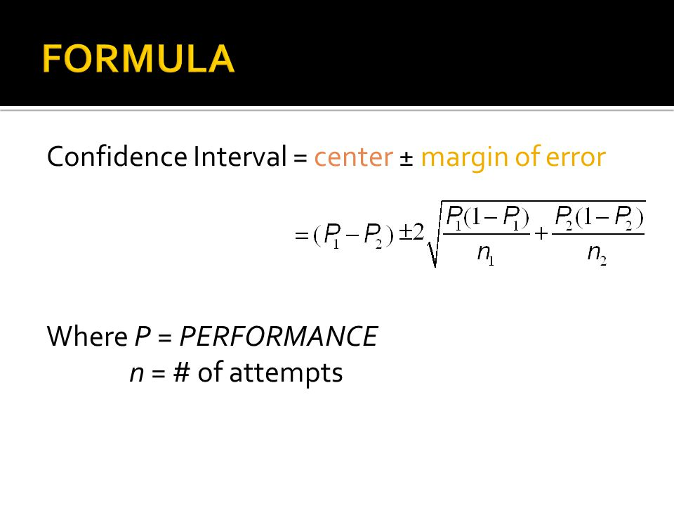 Confidence Interval = center ± margin of error Where P = PERFORMANCE n = # of attempts