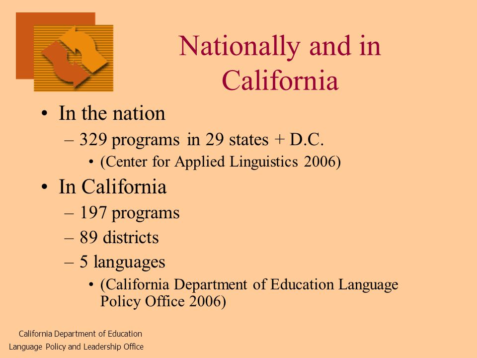 Nationally and in California In the nation –329 programs in 29 states + D.C.