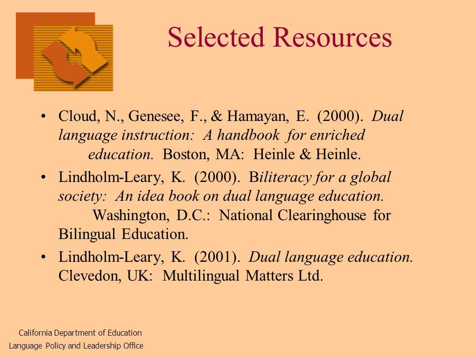 Selected Resources Cloud, N., Genesee, F., & Hamayan, E.