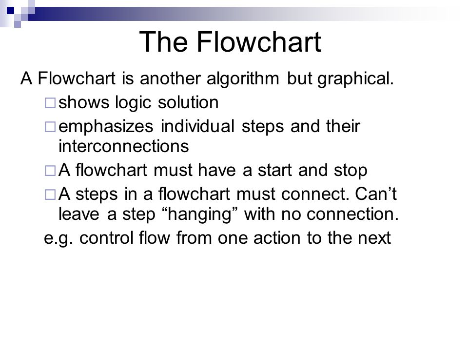 The Flowchart A Flowchart is another algorithm but graphical.
