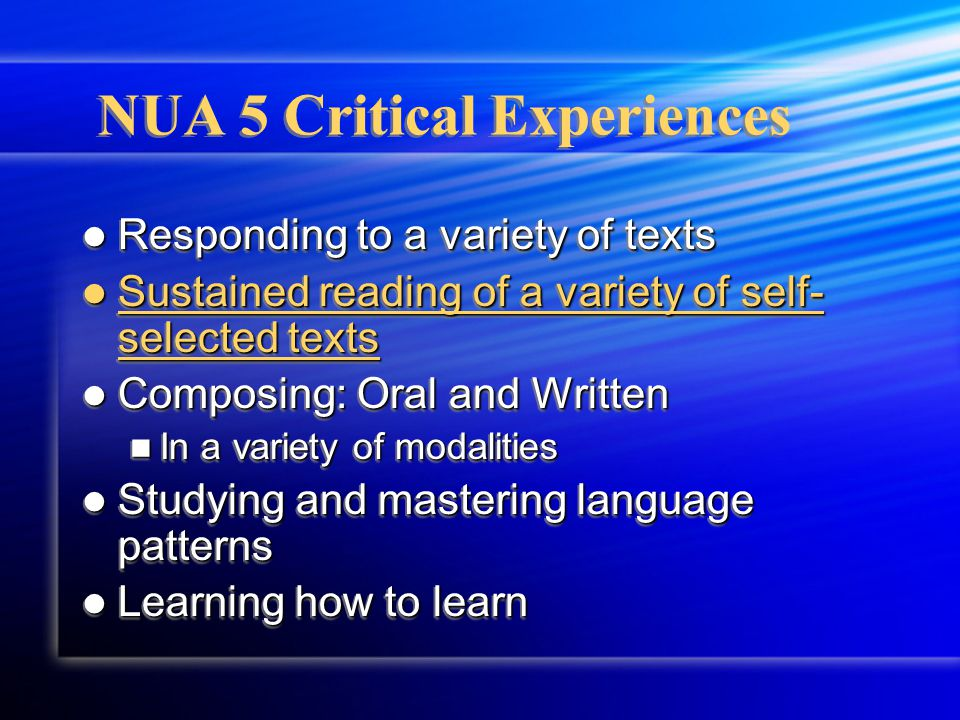NUA 5 Critical Experiences Responding to a variety of texts Responding to a variety of texts Sustained reading of a variety of self- selected texts Sustained reading of a variety of self- selected texts Composing: Oral and Written Composing: Oral and Written In a variety of modalities In a variety of modalities Studying and mastering language patterns Studying and mastering language patterns Learning how to learn Learning how to learn Responding to a variety of texts Responding to a variety of texts Sustained reading of a variety of self- selected texts Sustained reading of a variety of self- selected texts Composing: Oral and Written Composing: Oral and Written In a variety of modalities In a variety of modalities Studying and mastering language patterns Studying and mastering language patterns Learning how to learn Learning how to learn