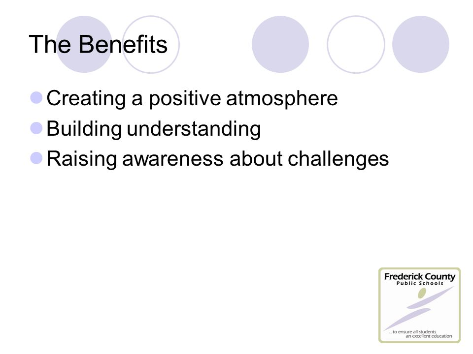 The Benefits Creating a positive atmosphere Building understanding Raising awareness about challenges