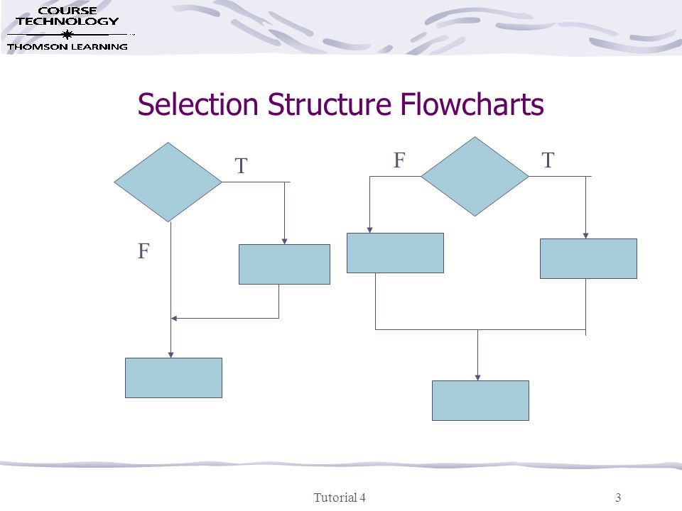 Tutorial 43 Selection Structure Flowcharts T F TF