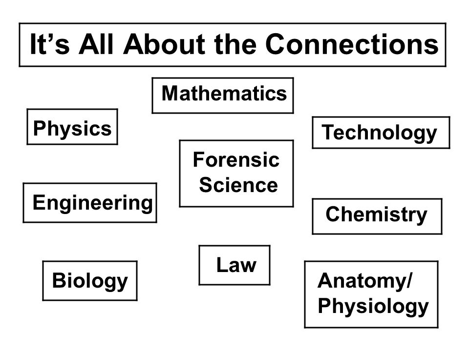 It's All About the Connections Physics Engineering Biology Mathematics Forensic Science Law Technology Chemistry Anatomy/ Physiology