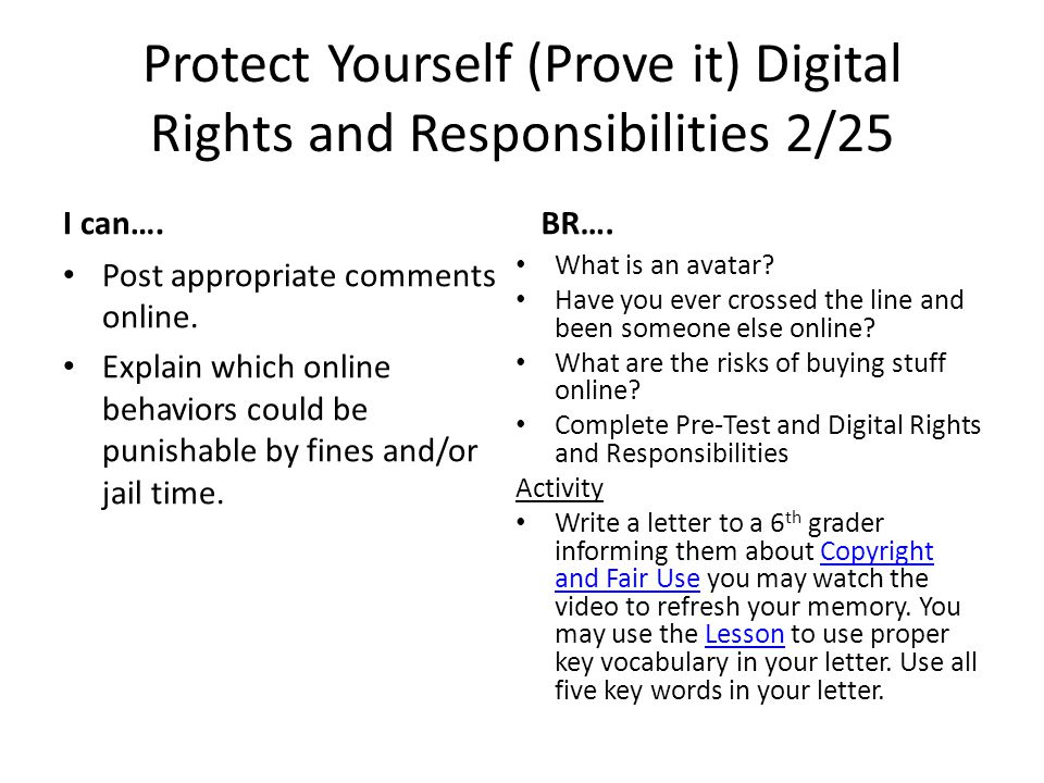 Protect Yourself (Prove it) Digital Rights and Responsibilities 2/25 I can….