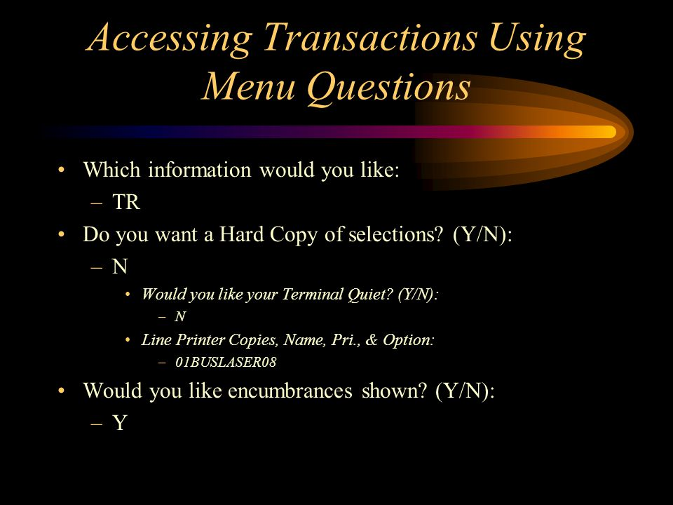 Menu Questions Cont.