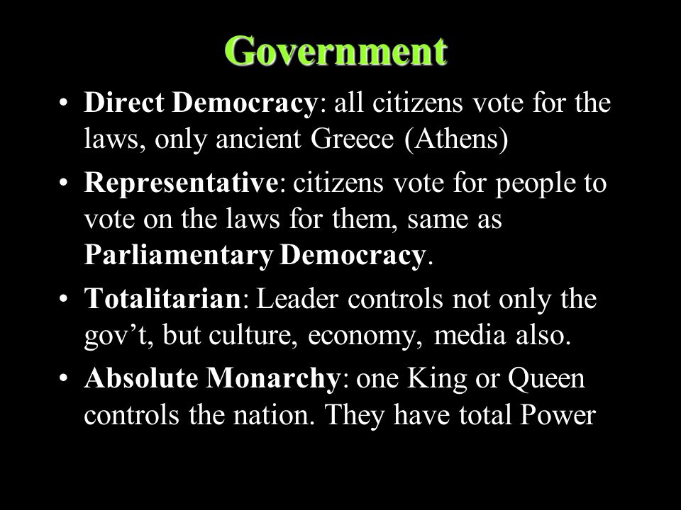 Government Direct Democracy: all citizens vote for the laws, only ancient Greece (Athens) Representative: citizens vote for people to vote on the laws for them, same as Parliamentary Democracy.
