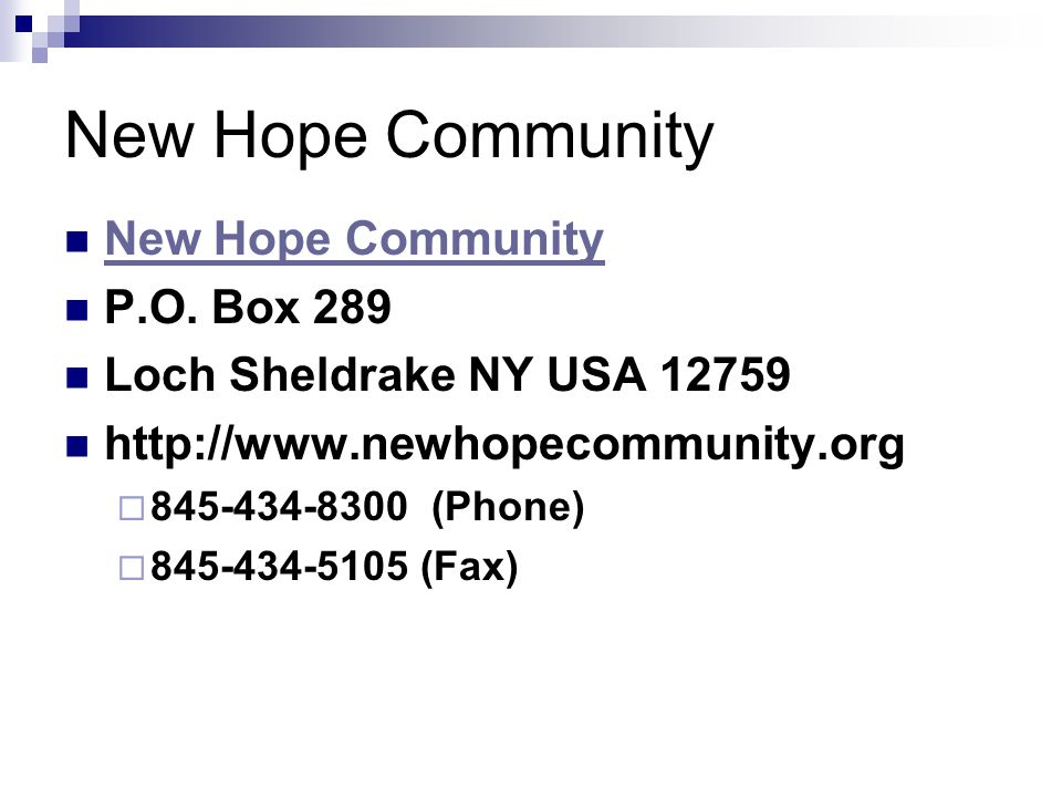 New Hope Community P.O.