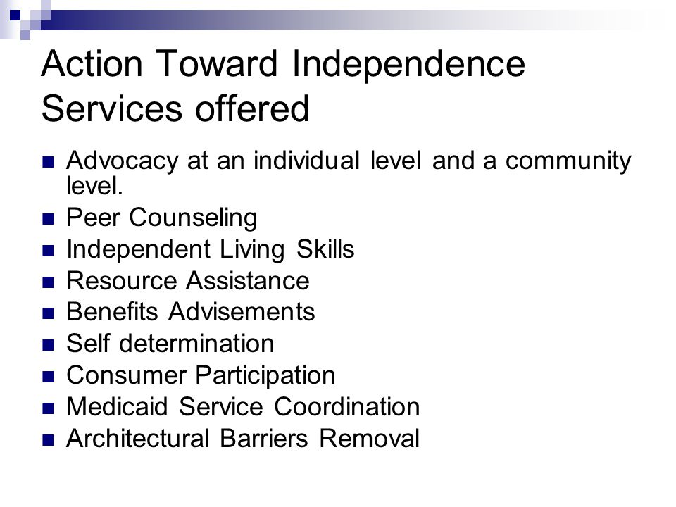 Action Toward Independence Services offered Advocacy at an individual level and a community level.