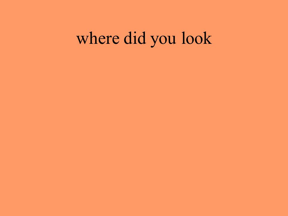 where did you look
