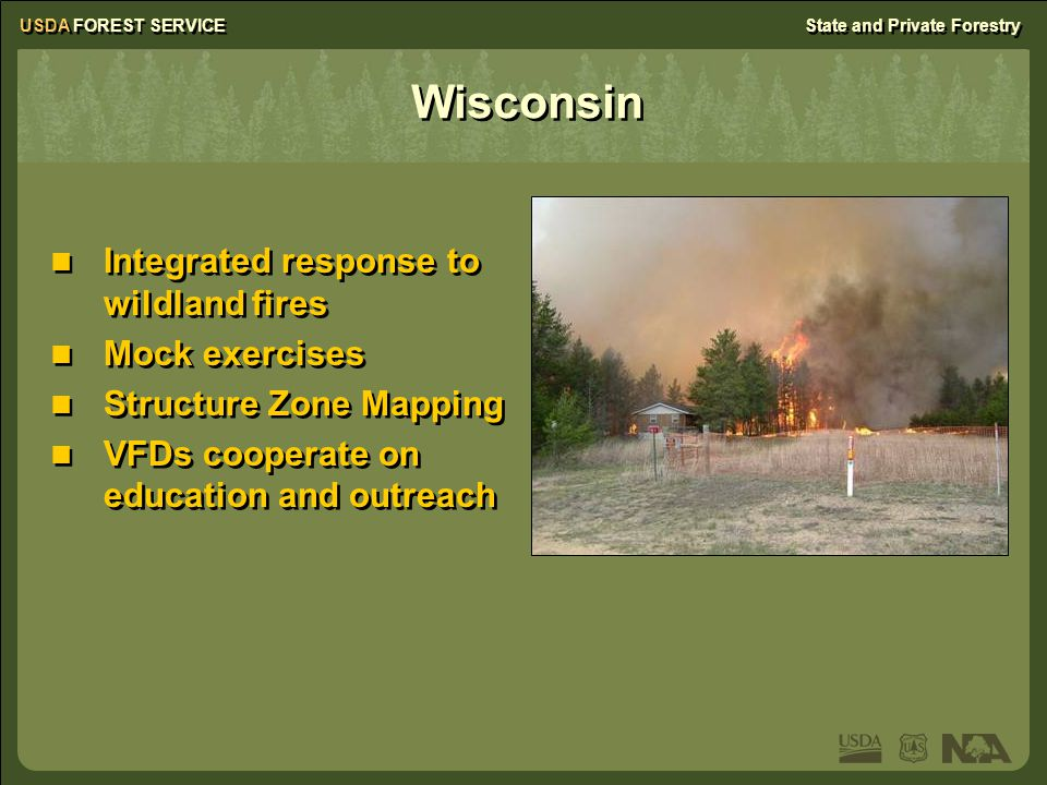 USDA FOREST SERVICEState and Private Forestry Wisconsin Integrated response to wildland fires Mock exercises Structure Zone Mapping VFDs cooperate on education and outreach Integrated response to wildland fires Mock exercises Structure Zone Mapping VFDs cooperate on education and outreach