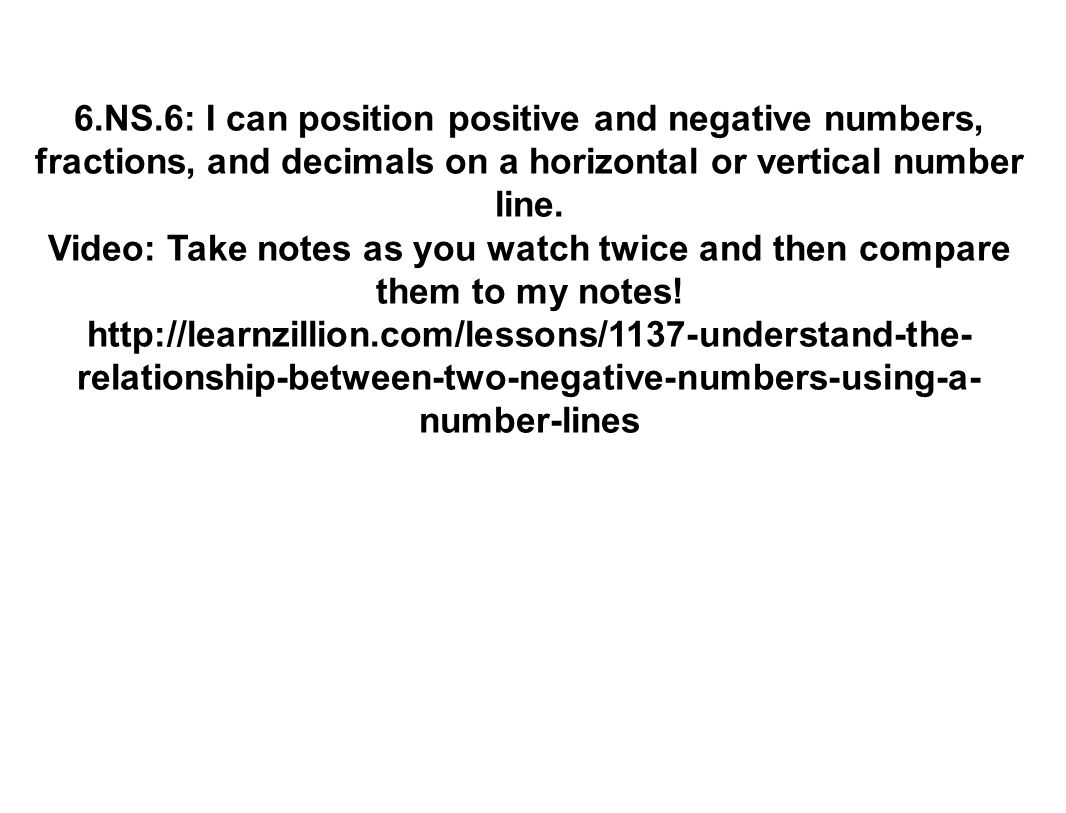6.NS.6: I can position positive and negative numbers, fractions, and decimals on a horizontal or vertical number line.