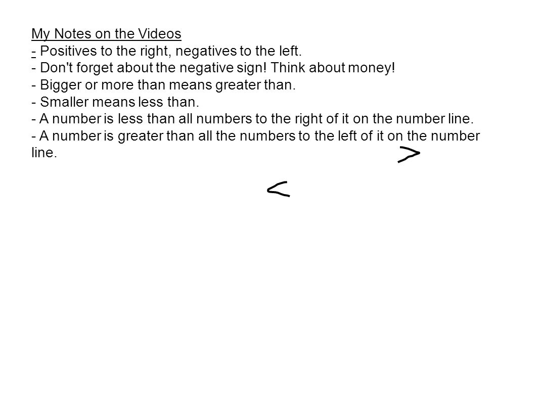 My Notes on the Videos - Positives to the right, negatives to the left.