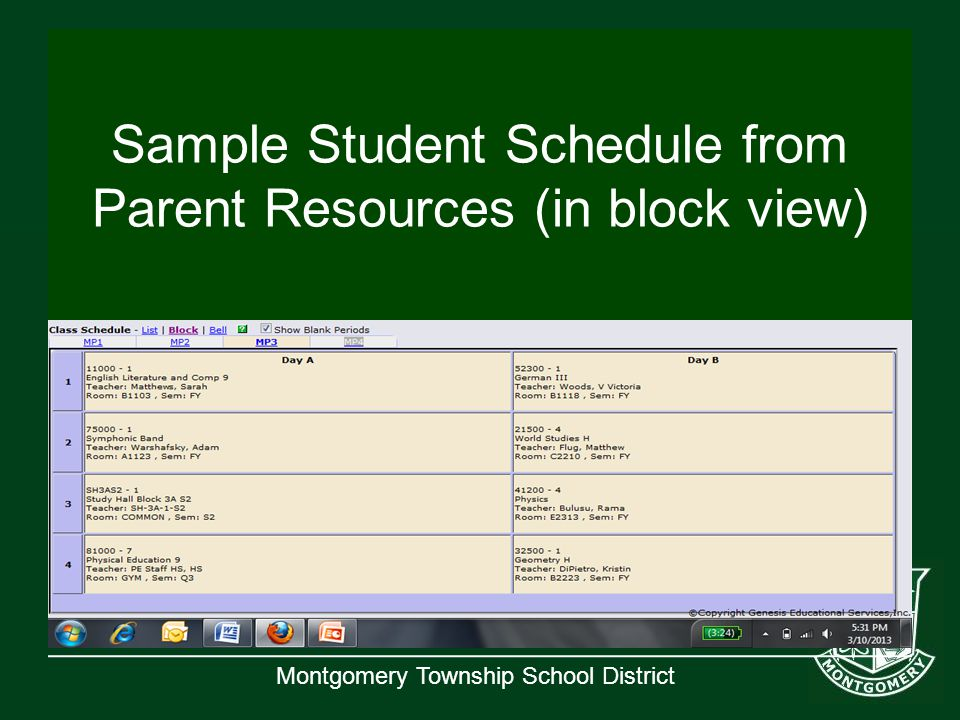 Montgomery Township School District Sample Student Schedule from Parent Resources (in block view)