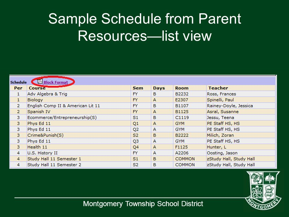 Montgomery Township School District Sample Schedule from Parent Resources—list view