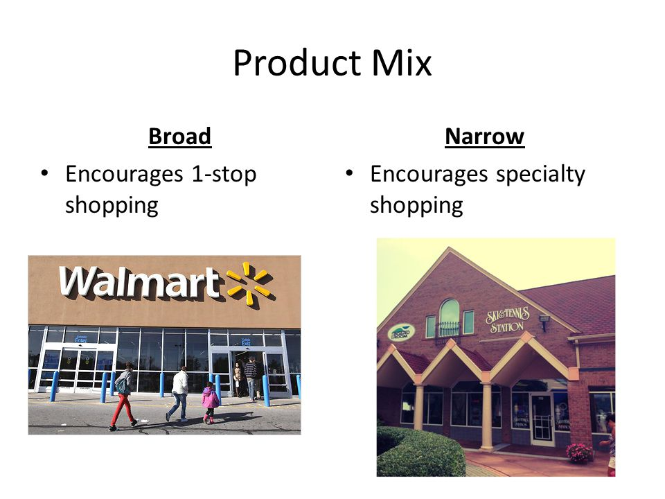 Product Mix Broad Encourages 1-stop shopping Narrow Encourages specialty shopping