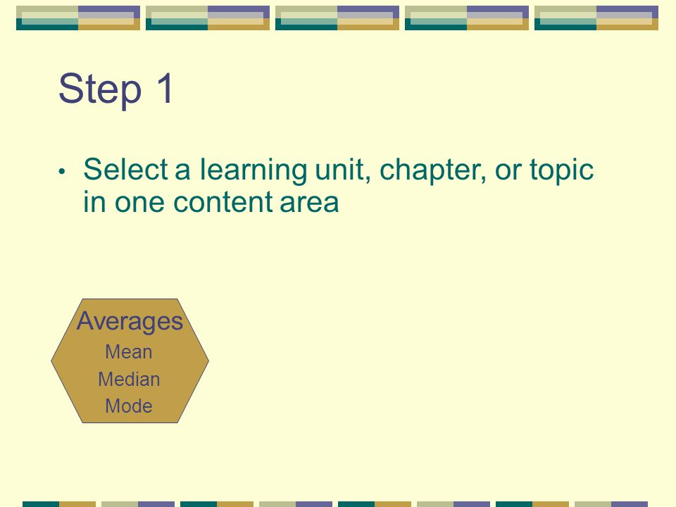 Step 1 Select a learning unit, chapter, or topic in one content area Averages Mean Median Mode