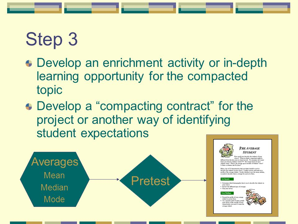 Step 3 Develop an enrichment activity or in-depth learning opportunity for the compacted topic Develop a compacting contract for the project or another way of identifying student expectations Averages Mean Median Mode Pretest