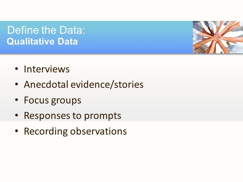 Interviews Anecdotal evidence/stories Focus groups Responses to prompts Recording observations Define the Data: Qualitative Data