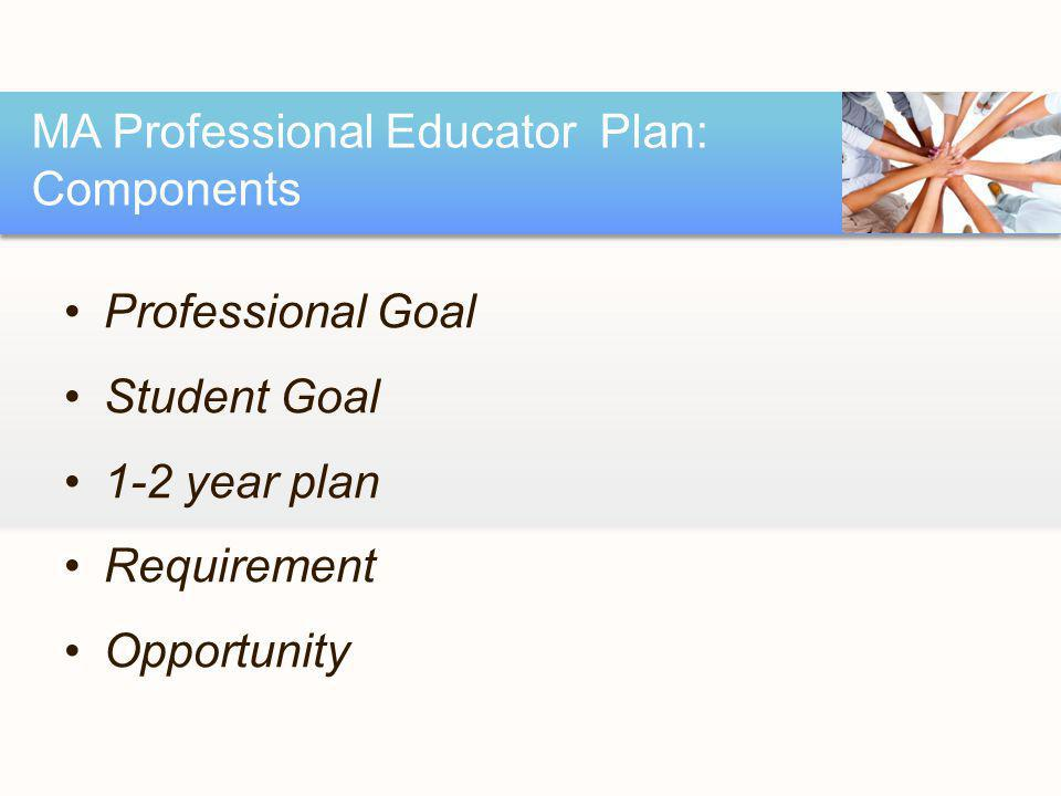 Professional Goal Student Goal 1-2 year plan Requirement Opportunity MA Professional Educator Plan: Components
