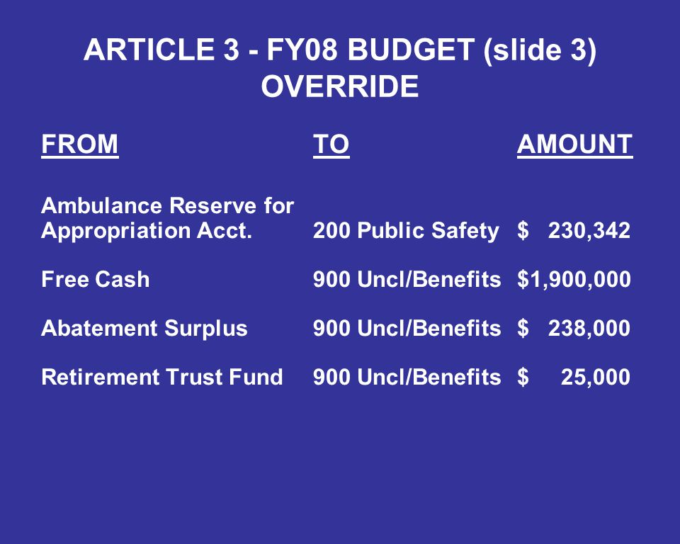 ARTICLE 3 - FY08 BUDGET (slide 3) OVERRIDE FROMTOAMOUNT Ambulance Reserve for Appropriation Acct.