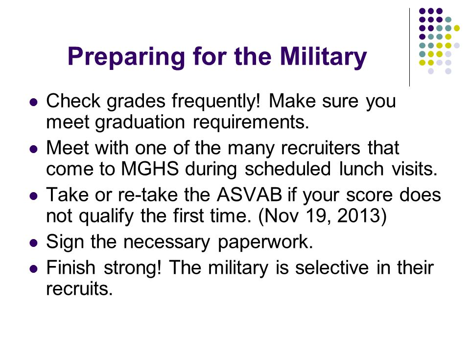 Preparing for the Military Check grades frequently.