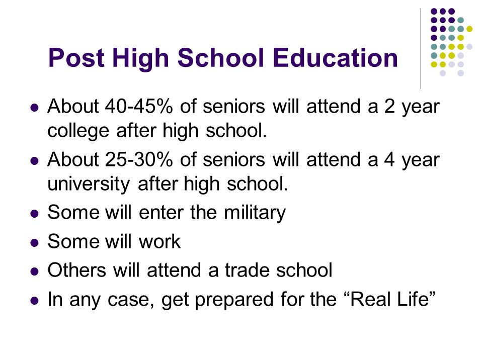 Post High School Education About 40-45% of seniors will attend a 2 year college after high school.
