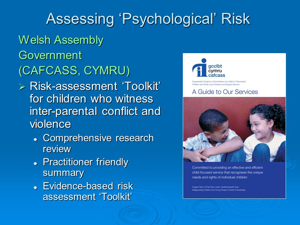 Assessing 'Psychological' Risk Welsh Assembly Government (CAFCASS, CYMRU)  Risk-assessment 'Toolkit' for children who witness inter-parental conflict and violence Comprehensive research review Comprehensive research review Practitioner friendly summary Practitioner friendly summary Evidence-based risk assessment 'Toolkit' Evidence-based risk assessment 'Toolkit'