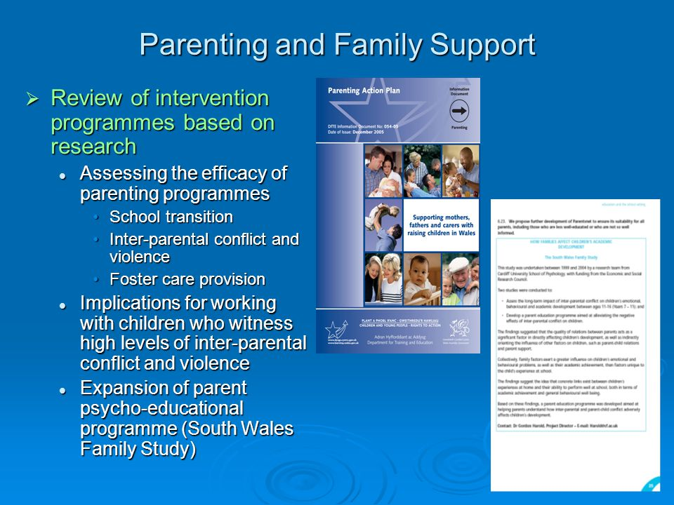 Parenting and Family Support  Review of intervention programmes based on research Assessing the efficacy of parenting programmes Assessing the efficacy of parenting programmes School transitionSchool transition Inter-parental conflict and violenceInter-parental conflict and violence Foster care provisionFoster care provision Implications for working with children who witness high levels of inter-parental conflict and violence Implications for working with children who witness high levels of inter-parental conflict and violence Expansion of parent psycho-educational programme (South Wales Family Study) Expansion of parent psycho-educational programme (South Wales Family Study)