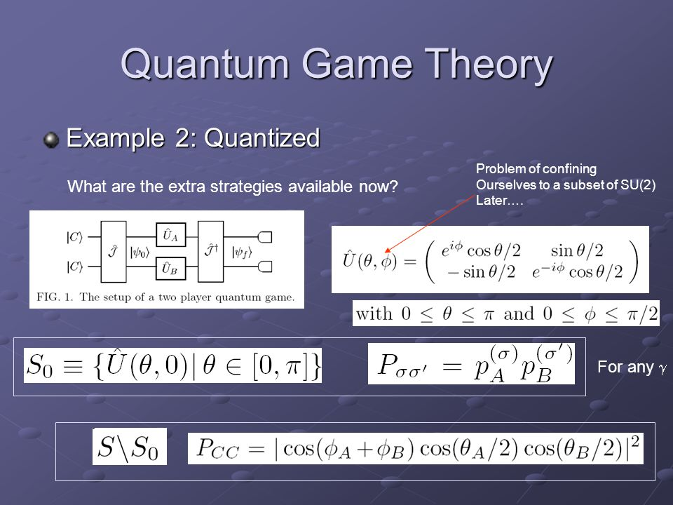 Quantum Game Theory Example 2: Quantized What are the extra strategies available now.