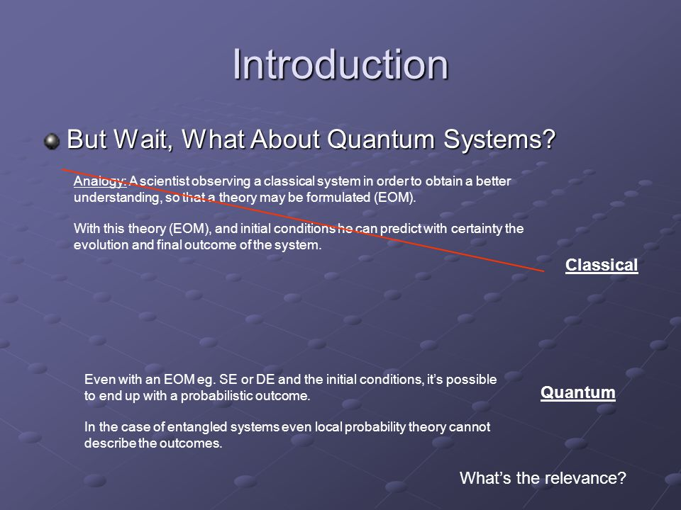 Introduction But Wait, What About Quantum Systems.